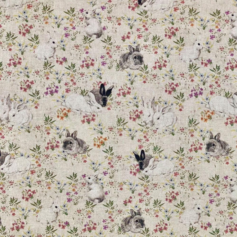 Rabbits Hare Digital Printed Linen Cotton Fabric Curtain Upholstery Cushions