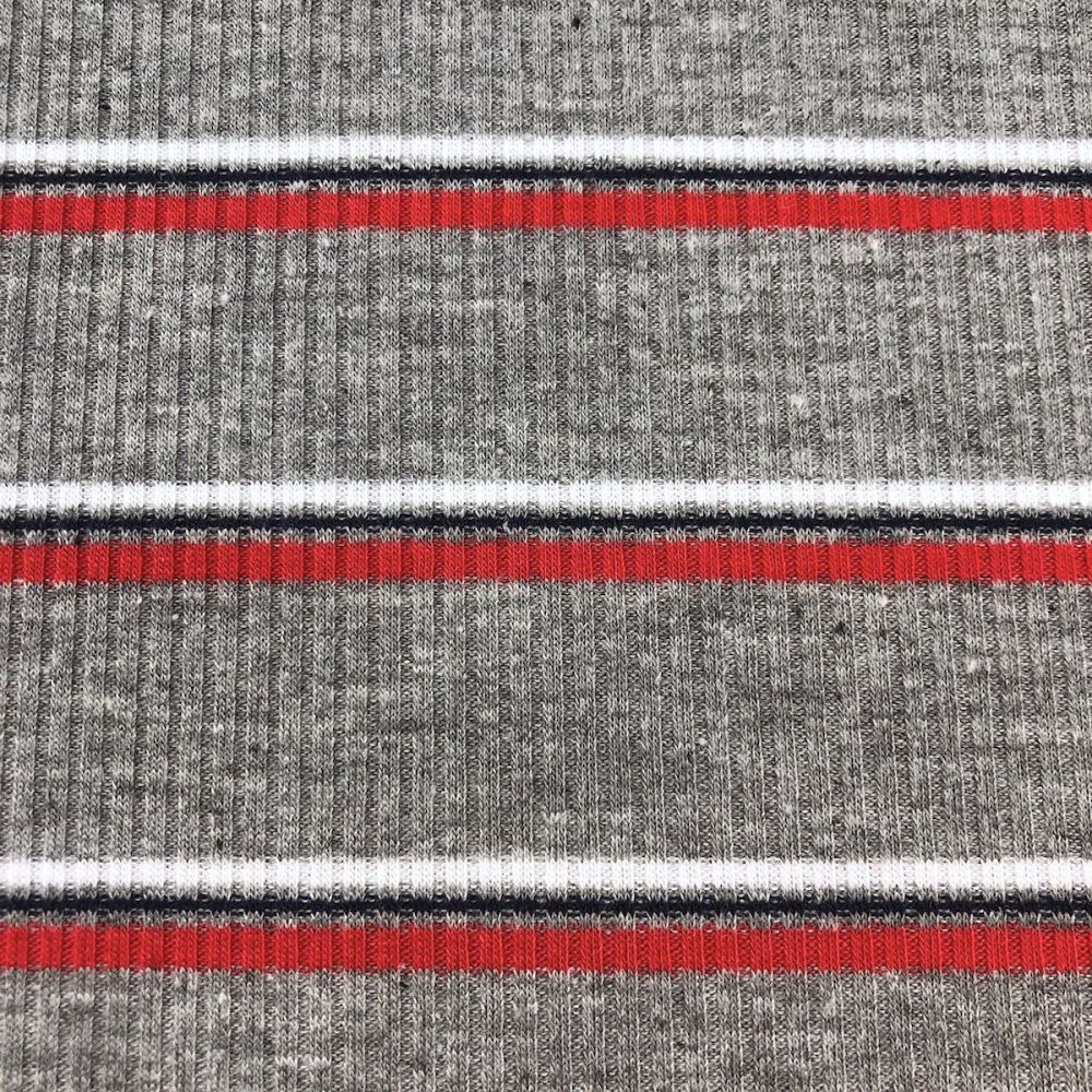 b5571e9c601 Ribbed Knit Jersey Fabric Grey With Navy, Red And White Stripes 137cm