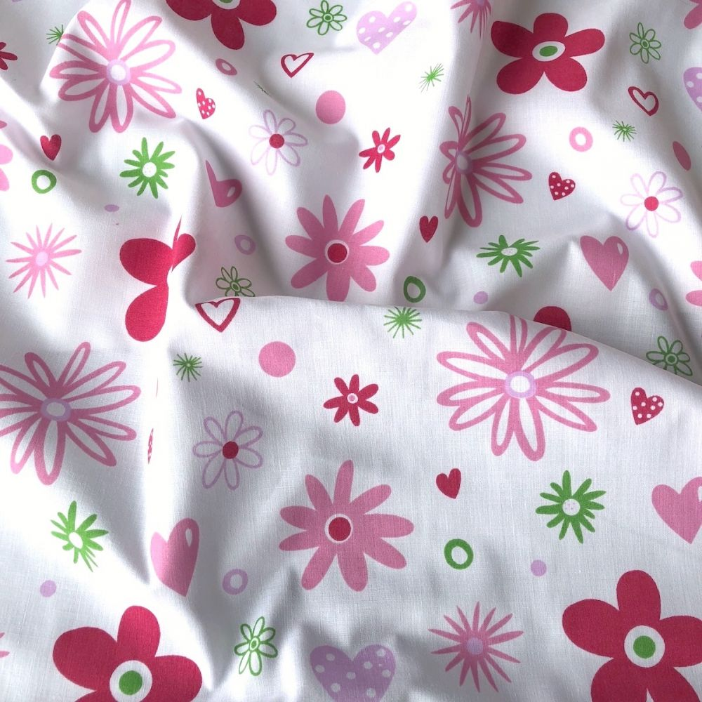 Poly cotton fabric white with pink flowers and hearts 112cm mightylinksfo