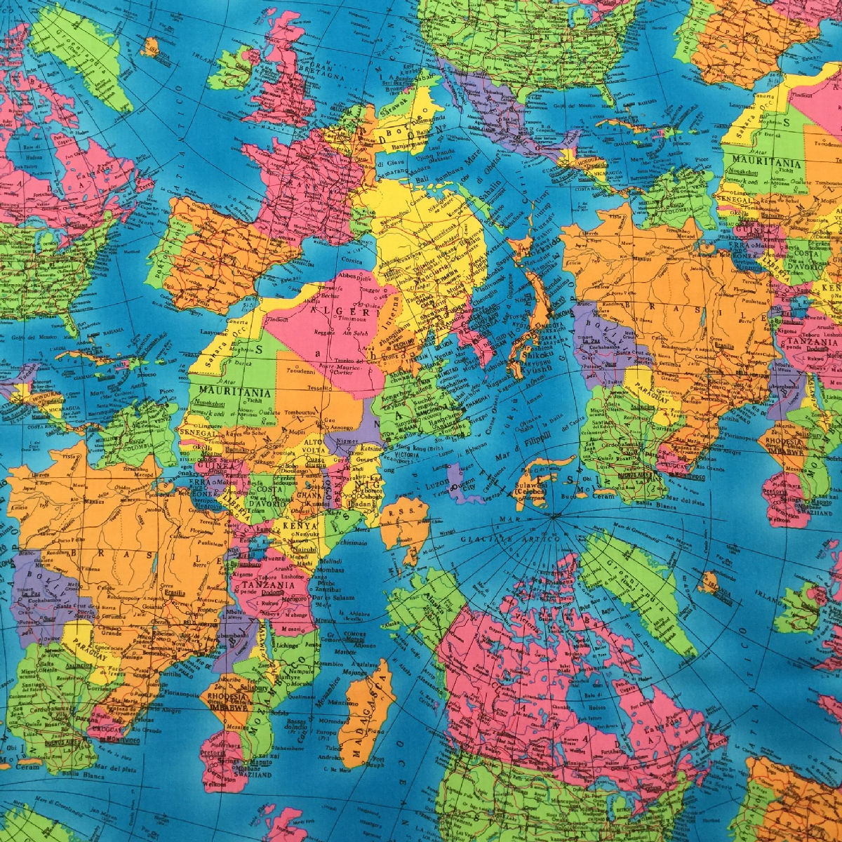100 cotton print fabric fun map of the world 137cm gumiabroncs Gallery
