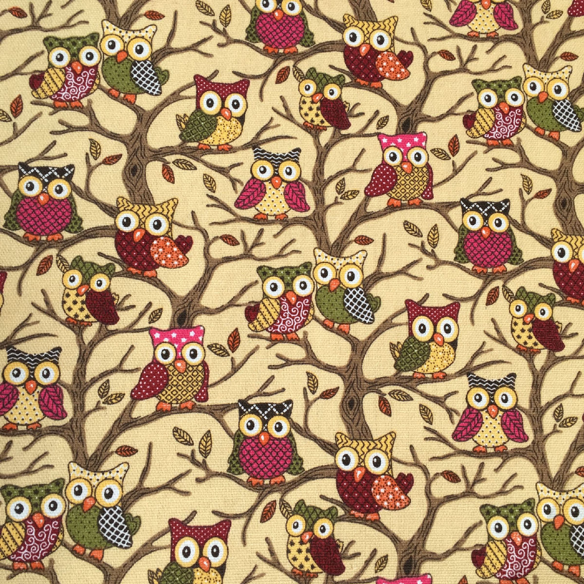 Owls Forest Owls Beige Canvas Fabric Material Medium