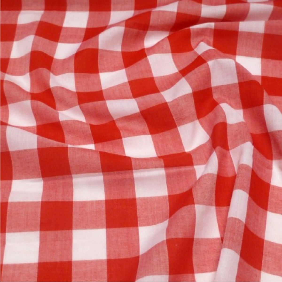 Red 1 Quot Gingham Check Poly Cotton Fabric 112cm