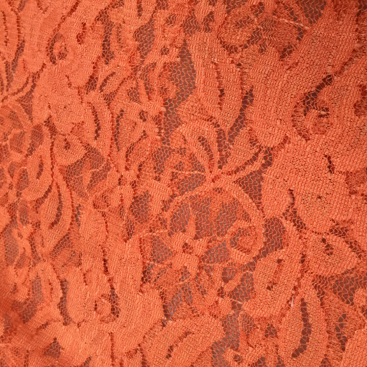 STUNNING Orange Flower Floral Lace Fabric 150cm Wide Sold By Metre
