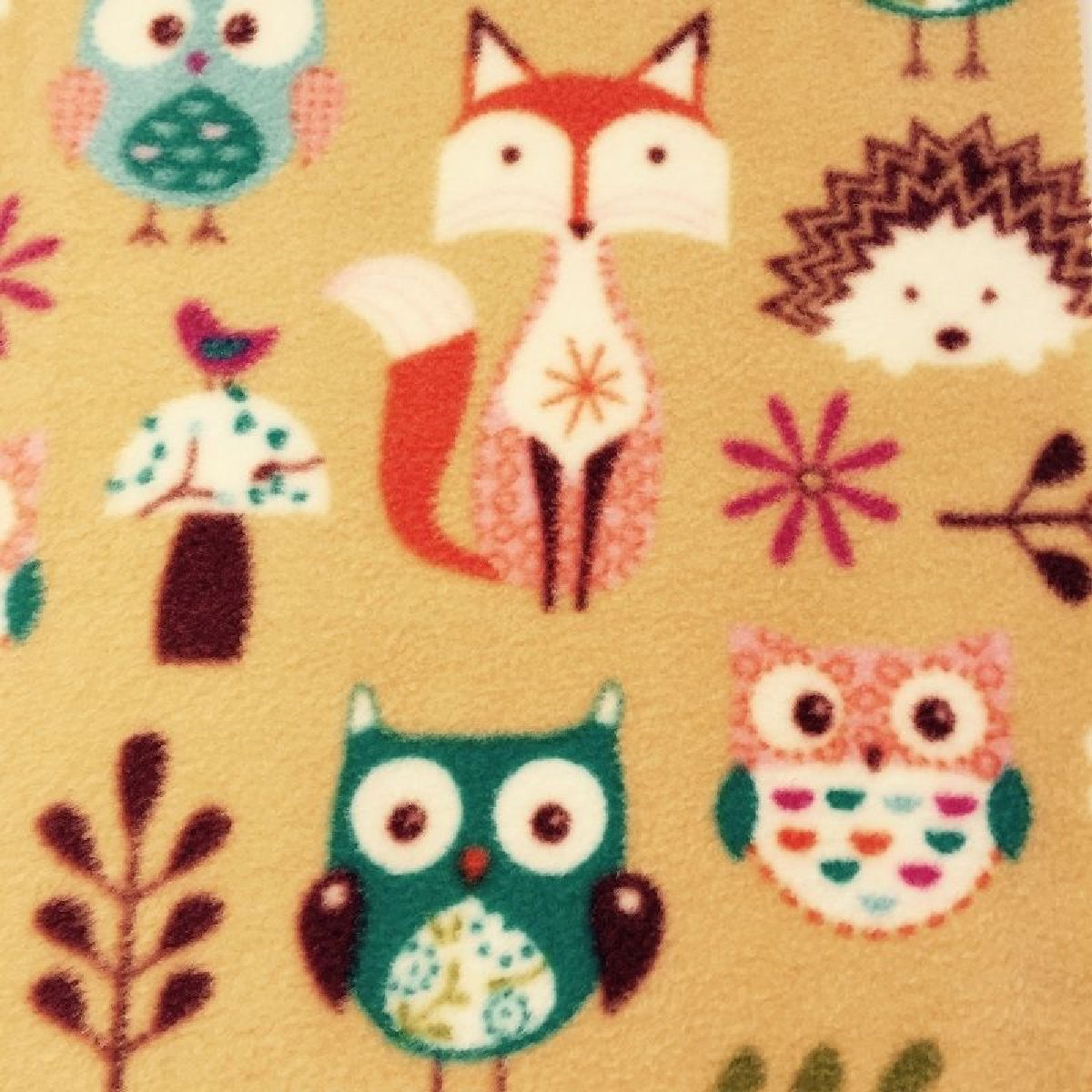 Little Fox Polar Fleece Fabric By the 1//2 Metre Blue//Beige//Grey